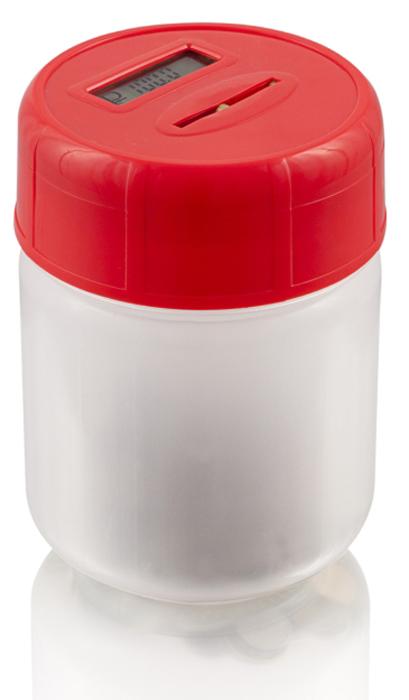 Электронная копилка MAX Сбербанка, цвет: красный20002Электронные Умные копилки - Лучшее изобретение для корпоративного подарка. Копилка умеет определять достоинство Российских монет, складывать в сумму накопления и демонстрировать ее на дисплее крышки.