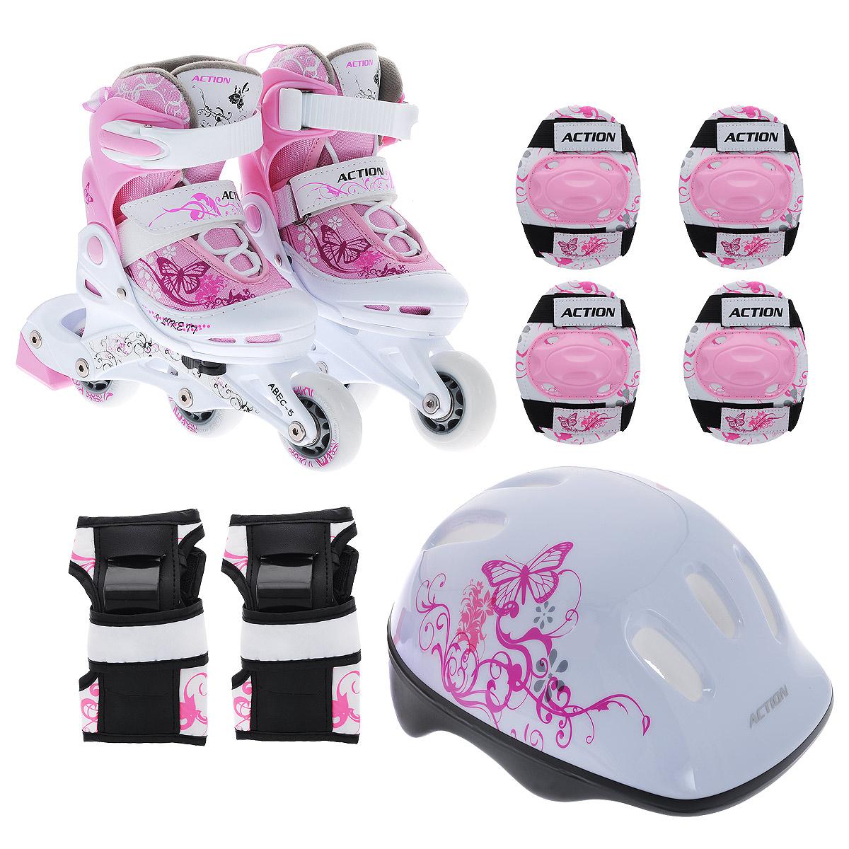 Набор Action: коньки роликовые, защита, шлем, цвет: розовый, белый. PW-117P. Размер 34/37CS-ESCOOTER-S2Набор для катания на роликах Action состоит из роликовых коньков, защиты и шлема.Ролики: шасси - пластик, подшипник - ABEC-5, колеса - ПВХ (64 мм).Шлем: материал - пенополистирол с отверстиями для вентиляции головы.Защита: для локтей, колен, запястий; принт на тканевых (нейлон) элементах. УВАЖАЕМЫЕ КЛИЕНТЫ!Обращаем ваше внимание на различие в количестве колес в зависимости от размеров роликов: ролики размером 26/29 поставляются с 3 колесами, размерами 30/33 и 34/37 - с 4.
