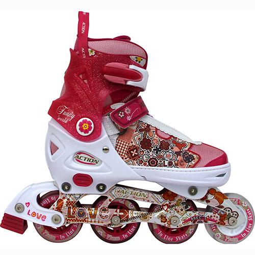 Коньки роликовые Action, раздвижные, цвет: розовый, белый. PW-300. Размер 33/36PW-300Коньки имеют мягкий ботинок с раздвижным механизмом, что обеспечивает хорошую посадку и пластичность, а для еще более комфортного катания ботинки коньков оснащены классической системой шнуровки, клипсой с фиксатором и ремешком на липучке. Облегченная, анатомически облегающая конструкция обеспечивает улучшенную боковую поддержку и полный контроль над движением. Особенностью данной модели является светящееся переднее колесо. Ботинок: мягкий, армированный каркасом из жесткого полиуретана. Материал внешний: мягкая синтетическая ткань с легким ворсом, EVA (этил-винил-ацетат). Материал внутренний: вельвет. Материал рамы: алюминий. Тип подшипника: ABEC-5. Количество колес: 3 шт. Материал колес: полиуретан. Диаметр колеса: 64 мм (переднее колесо светящееся!). Жесткость колеса: 82А. Тип фиксации: классическая шнуровка, клипса, липучка. Цвет: розовый/белый. Максимальный вес пользователя: 30 кг. Вид использования: любительское катание на роликовых коньках.