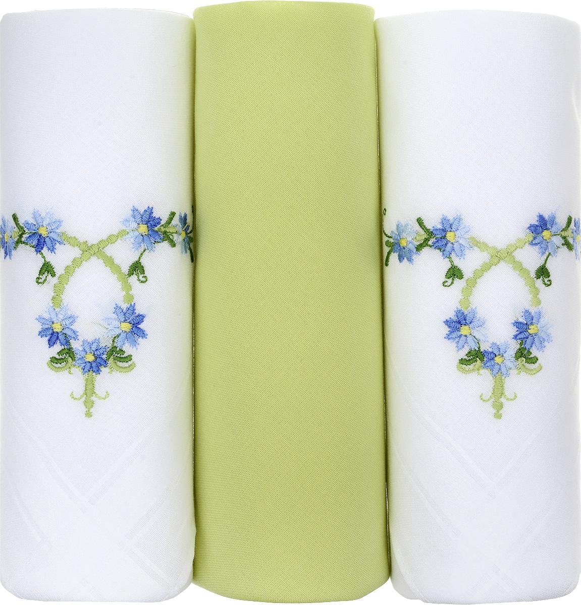 Платок носовой женский Zlata Korunka, цвет: белый, салатовый, 3 шт. 25605-1. Размер 30 см х 30 см25605-1Небольшой женский носовой платок Zlata Korunka изготовлен из высококачественного натурального хлопка, благодаря чему приятен в использовании, хорошо стирается, не садится и отлично впитывает влагу. Практичный и изящный носовой платок будет незаменим в повседневной жизни любого современного человека. Такой платок послужит стильным аксессуаром и подчеркнет ваше превосходное чувство вкуса. В комплекте 3 платка.
