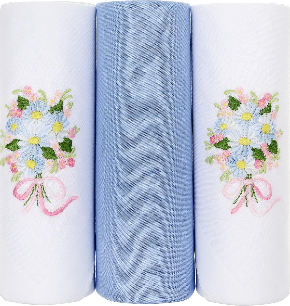 Платок носовой женский Zlata Korunka, цвет: белый, голубой. 25605-7. Размер 30 х 30 см, 3 шт25605-7Носовой платок Zlata Korunka изготовлен из высококачественного натурального хлопка, благодаря чему приятен в использовании, хорошо стирается, не садится и отлично впитывает влагу. Практичный и изящный носовой платок будет незаменим в повседневной жизни любого современного человека. Такой платок послужит стильным аксессуаром и подчеркнет ваше превосходное чувство вкуса. В комплекте 3 платка.
