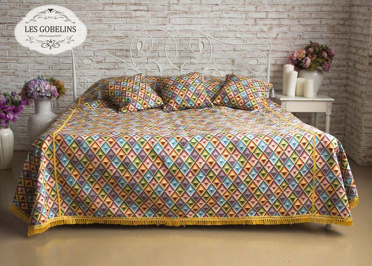 Покрывало на кровать Les Gobelins Kaleidoscope, 240 х 260 см531-401Покрывало на кровать Les Gobelins Kaleidoscope с ярким геометрическим рисунком привлечет к себе внимание и органично впишется в интерьер комнаты. Изделие изготовлено из высококачественной ткани гобелен и оформлено бахромой и кисточками. Необычайная красота сочетается в этом покрывале с высокой прочностью и долговечностью, а свойство гобелена по-разному проявлять себя в зависимости от освещения помещения позволяет открывать все новые и новые детали, которые, как казалось, раньше скрывал гобелен.Красочное и приятное на ощупь покрывало сделает интерьер спальни, детской или гостиной уютнее и своеобразнее. Состав материала: 50% хлопок, 50% полиэстер.
