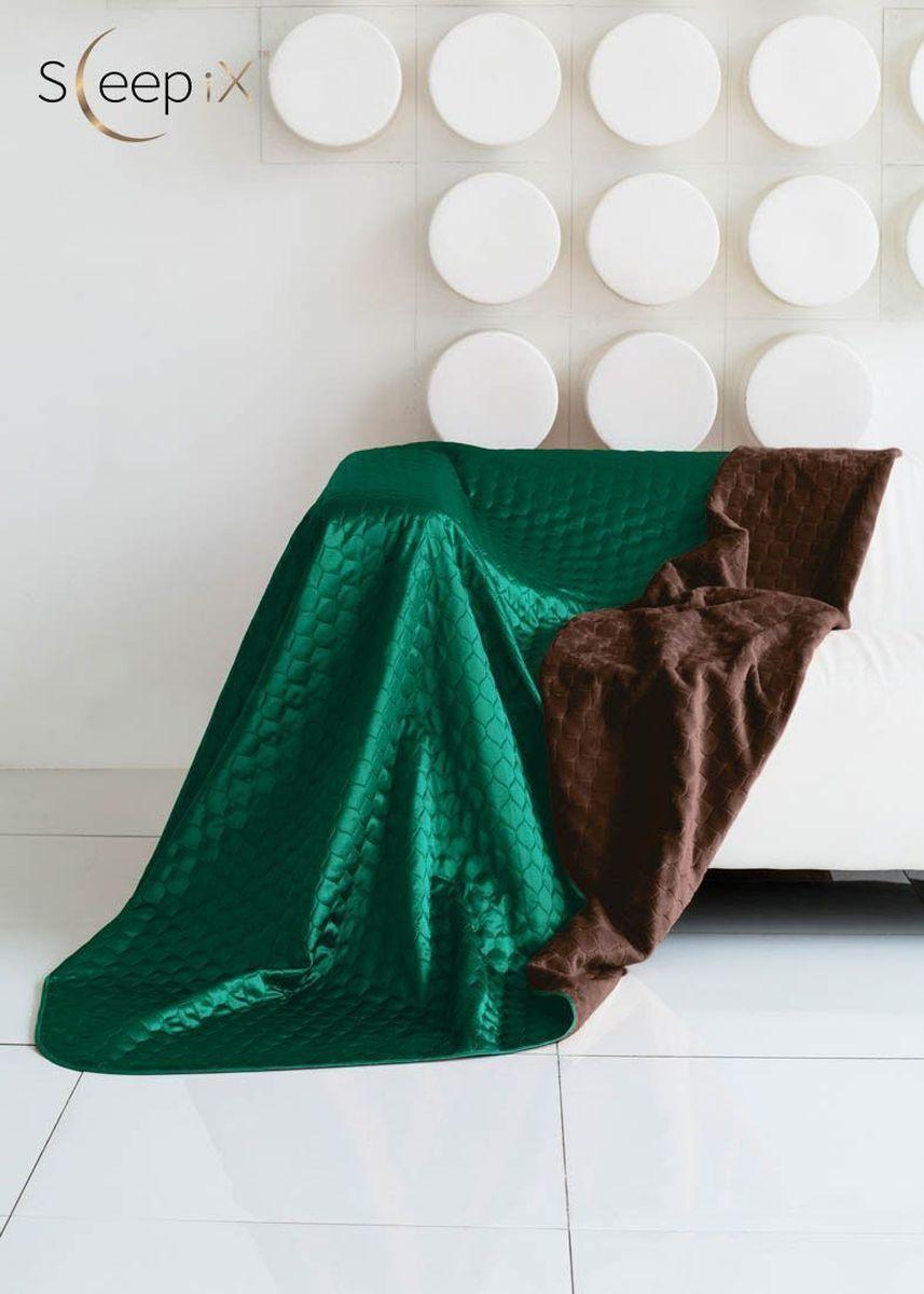 Покрывало Sleep iX Shinen Soft, цвет: коричневый, зеленый, 200 х 220 см. maa21481696515412Покрывало Sleep iX Shinen Soft двухстороннее, поэтому можно использовать как плед. Оно выполнено с одной стороны из искусственного меха, с другой - из атласного шелка. Имеет кант и отделано стежкой. Это покрывало (плед) станет ярким акцентом в интерьере. Размер покрывала: 200 х 220 см.Наполнитель: Синтепон.Состав: 100% полиэстер.