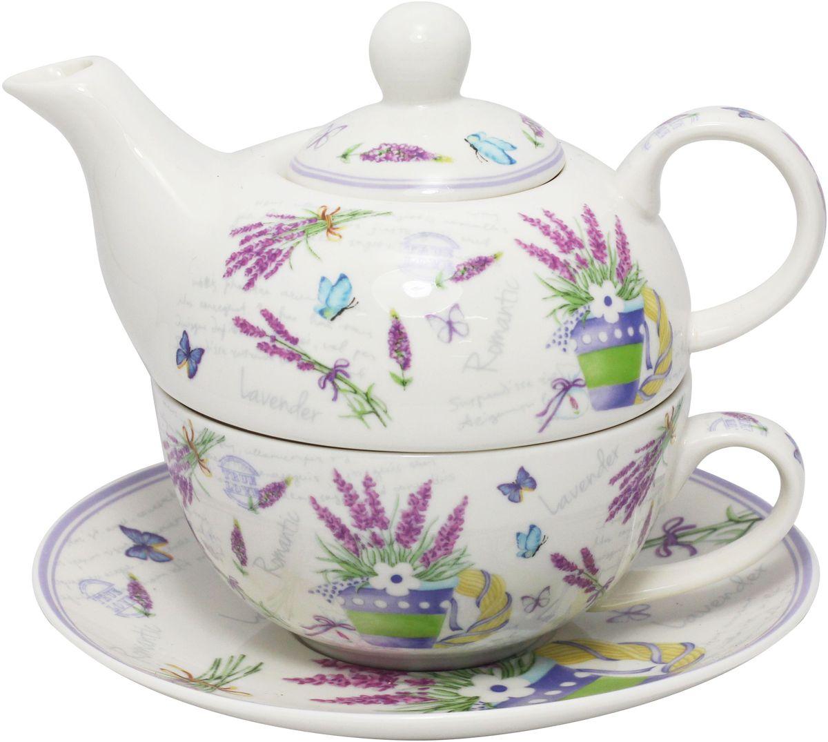 Набор чайный JEWEL Лаванда, 3 предметаПКГО0006ПКГО0006 Чайник 400мл,чашка300 мл,блюдце 16,7см Лаванда