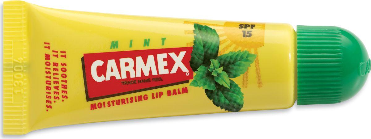 Carmex Бальзам для губ с ароматом мяты с защитой от воздействия ультрафиолета SPF15, туба в блистере00882СХСолнцезащитный и увлажняющий бальзам для губ CARMEX, SPF 15 с запахом мяты