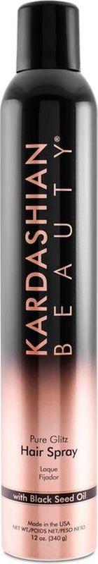 Kardashian Beauty Лак для волос Pure Glitz Hair Spray Haz 2KHS12Придает стойкую фиксацию, объем и блеск волосам любого типа. Быстросохнущий лак с добавлением масла черного тмина и блесток делает укладку объемной, создавая мерцающий эффект.