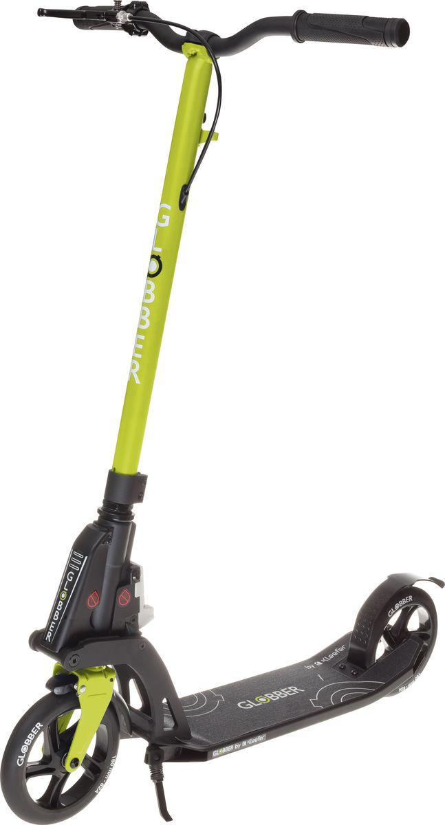 Самокат Globber My Too One K180, с тормозом , цвет: зеленый. 499-106WRA523700Самокат ONE K 180 оборудован фиксированным рулем и длинными ручками. Данная модель максимально комфортна для ежедневного использования. Доступны модификации самоката оборудованный ручным тормозом, а так же без него. Данная модель оснащена быстрой и простой в использовании системой складывания Kleefer, самокат можно собрать за одну секунду простым ударом по педали для того, чтобы беспрепятственно воспользоваться общественным транспортом.