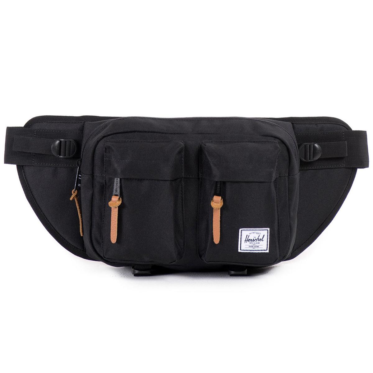 Сумка на пояс Herschel Eighteen (A/S), цвет: черный. 828432006830BP-001 BKВместительная поясная сумка с двумя внешними карманами. Эта модель отличается своим объемом, за счет которого Вы всегда сможете взять собой чуть больше нужных вещей. Удобный поясной ремень позволяет носить сумку также через плечо, что несомненно оценят, например, любители велосипедных прогулок.