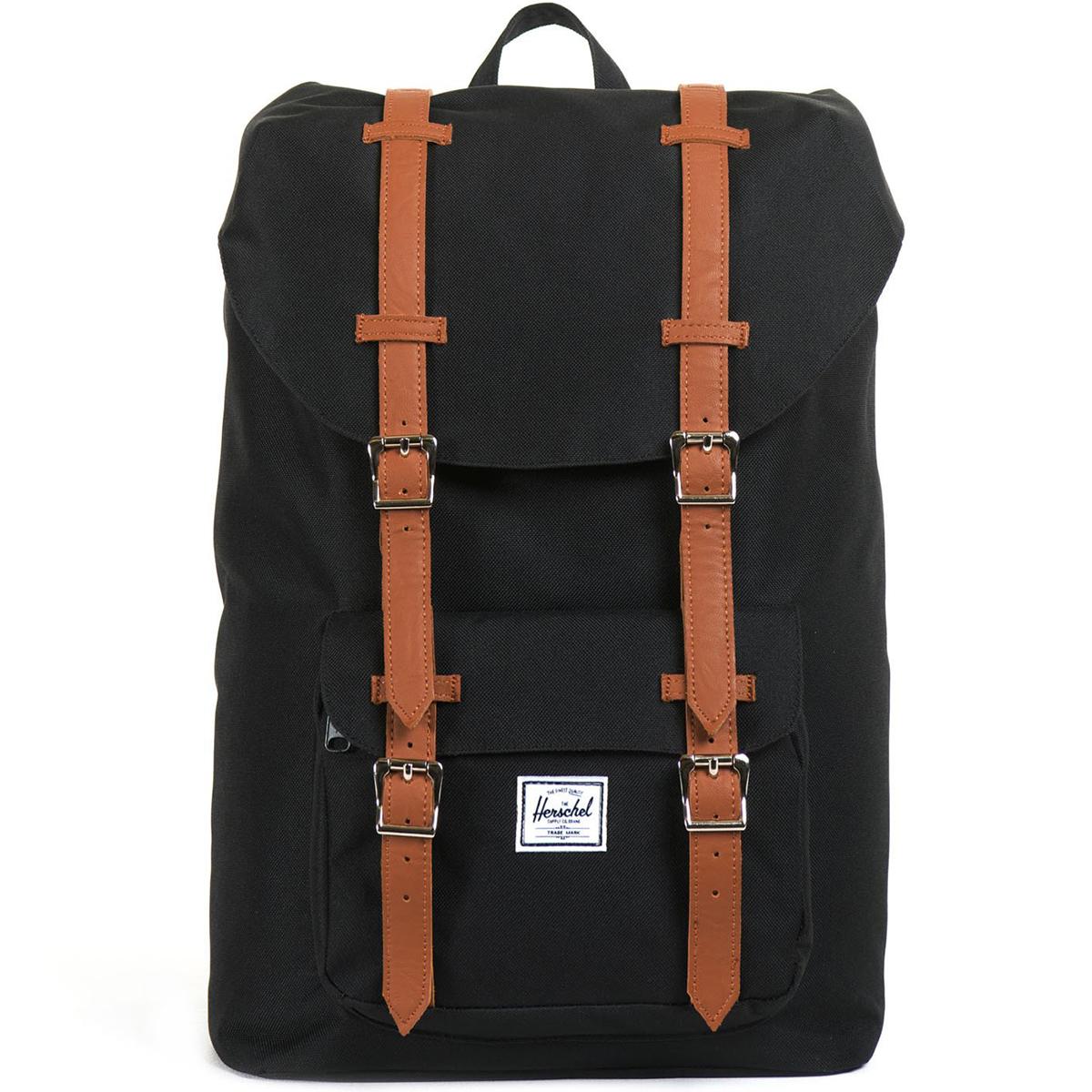 Рюкзак городской Herschel Little America (A/S), цвет: черный, светло-коричневый. 828432010431ЛЦ0036Рюкзак Herschel Little America ™ одна из самых значимых моделей, соединяя классический альпинистский стиль с современной функциональностью. Для повседневного использования.
