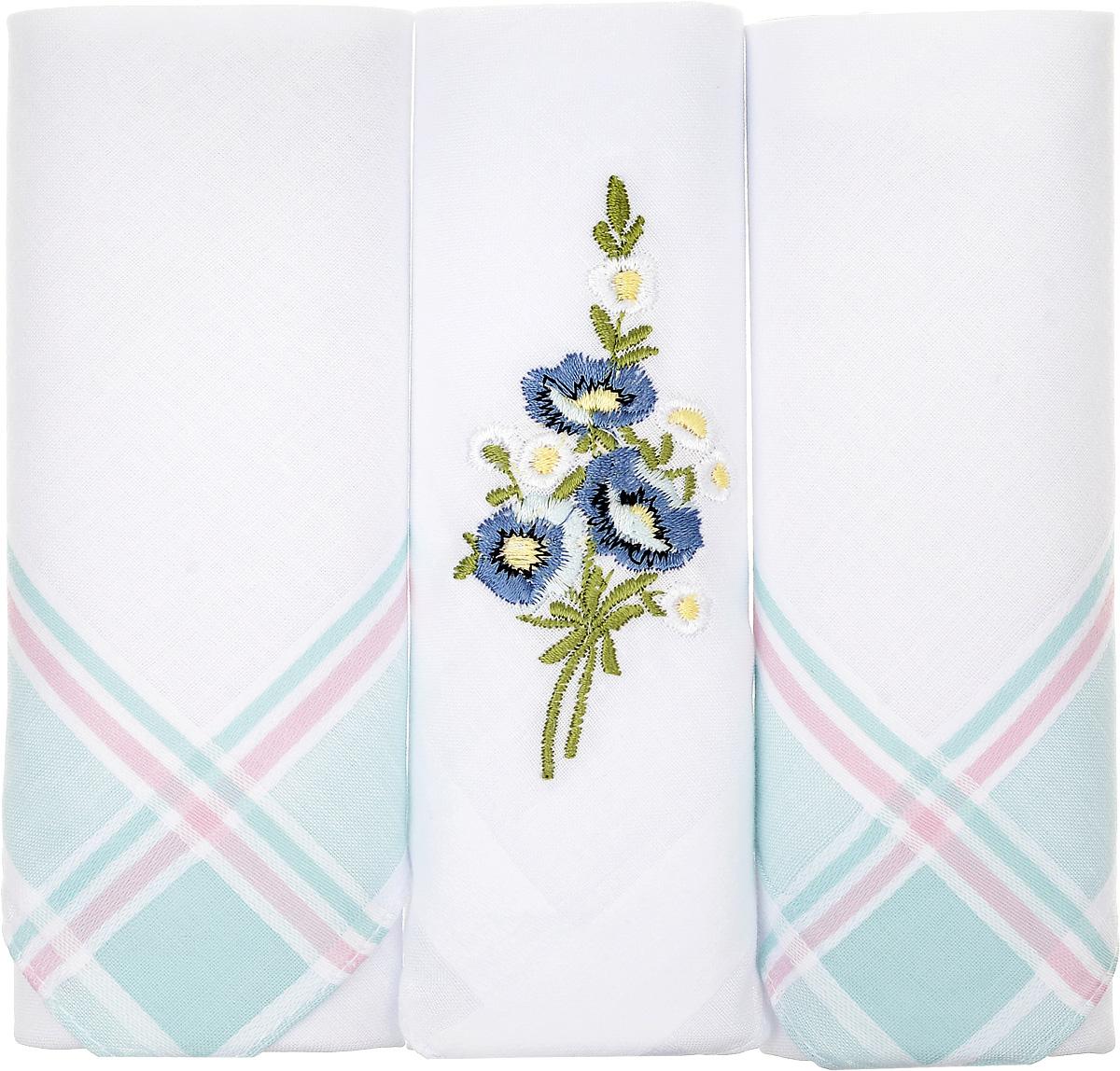 Платок носовой женский Zlata Korunka, цвет: белый, мятный, 3 шт. 90329-48. Размер 29 см х 29 смСерьги с подвескамиНебольшой женский носовой платок Zlata Korunka изготовлен из высококачественного натурального хлопка, благодаря чему приятен в использовании, хорошо стирается, не садится и отлично впитывает влагу. Практичный и изящный носовой платок будет незаменим в повседневной жизни любого современного человека. Такой платок послужит стильным аксессуаром и подчеркнет ваше превосходное чувство вкуса.В комплекте 3 платка.
