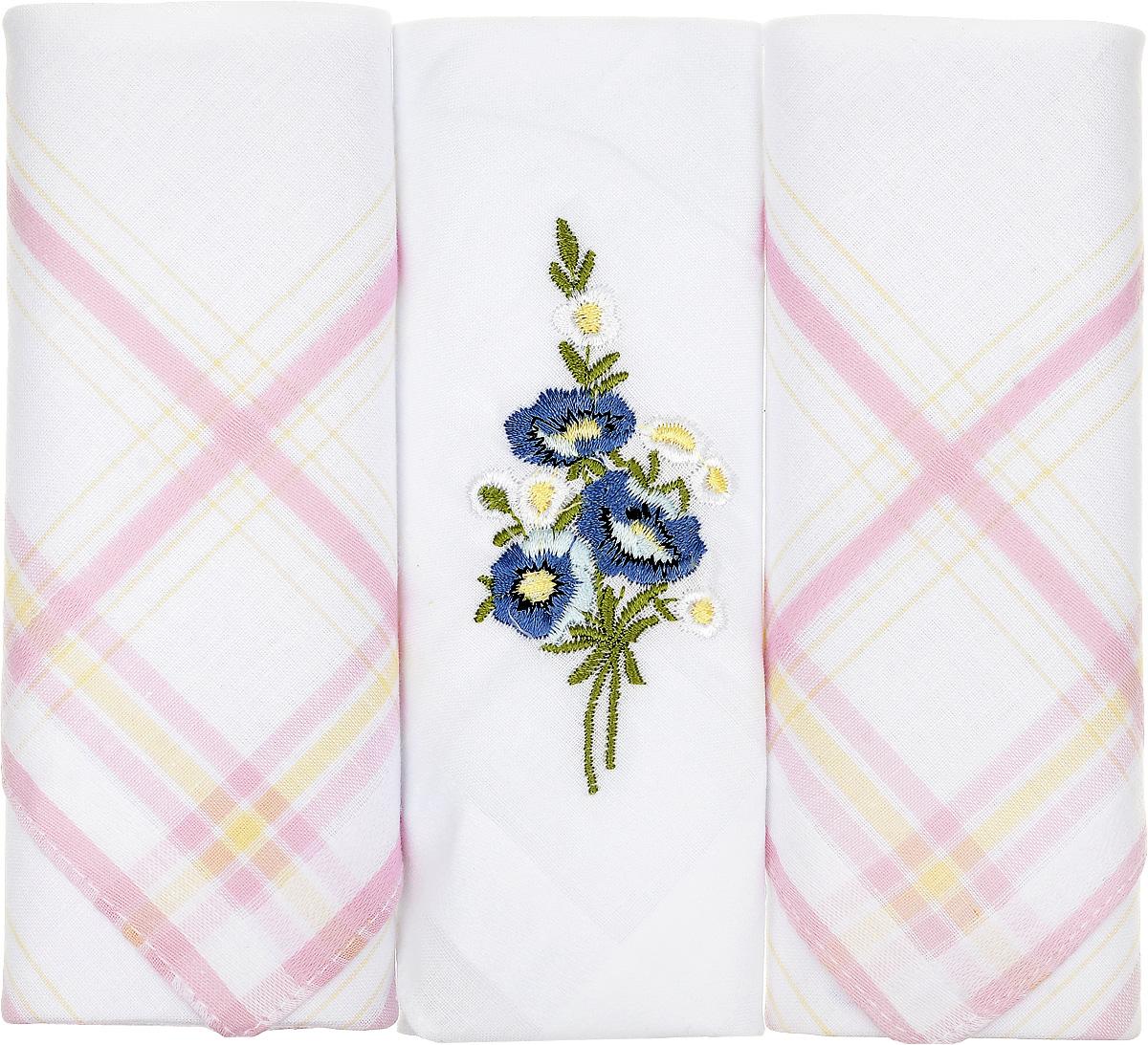 Платок носовой женский Zlata Korunka, цвет: белый, розовый, 3 шт. 90329-43. Размер 29 см х 29 см90329-43Небольшой женский носовой платок Zlata Korunka изготовлен из высококачественного натурального хлопка, благодаря чему приятен в использовании, хорошо стирается, не садится и отлично впитывает влагу. Практичный и изящный носовой платок будет незаменим в повседневной жизни любого современного человека. Такой платок послужит стильным аксессуаром и подчеркнет ваше превосходное чувство вкуса. В комплекте 3 платка.