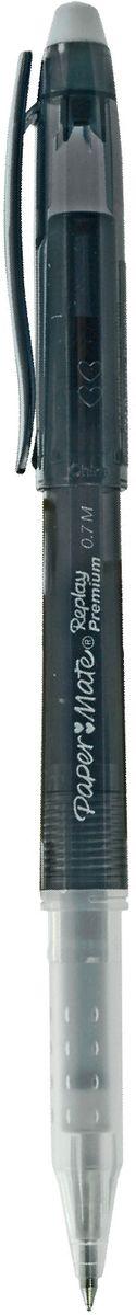 Paper Mate Ручка гелевая Replay Premium со стираемыми чернилами и ластиком цвет чернил черныйPP-001Гелевая ручка Paper Mate Replay Premium - незаменимый предмет на любом рабочем столе. Корпус ручек выполнен из прочного прозрачного пластика.Гелевая ручка, что обеспечивает комфорт и удобство при письме, так как позволяет пальцам принять естественное положение. Стержень имеет шарик диаметром 0,7 мм. Такая ручка обеспечит четкий цвет и мягкое письмо.