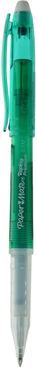 Paper Mate Ручка гелевая Replay Premium со стираемыми чернилами и ластиком цвет чернил зеленый610842Ручка с гелевыми стираемыми чернилами Replay Premium.С ластиком, цвет чернил - зеленый.