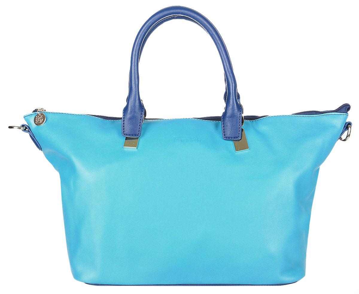 Сумка женская Vittorio Richi, цвет: голубой, темно-синий. 9134583-47670-00504Сумка из экокожи на молнии. Внутри текстильная подкладка, большой карман на молнии, два открытых отделения для мелочей. В комплекте наплечный ремень. Высота ручек 16см.