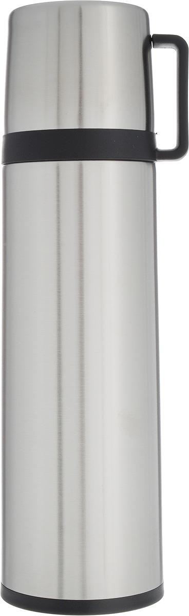 Термос Tescoma Constant, с крышкой-кружкой, цвет: стальной, черный, 0,7 л115610Термос Tescoma Constant - это вакуумный термос с двойной колбой из высококачественной нержавеющей стали. Термос сохраняет напитки горячими и холодными на протяжении длительного времени. Оснащен крышкой и пробкой с кнопкой для удобного розлива без снижения температуры. Термос Tescoma Constant прекрасно подходит для дома, офиса и для путешествий. Сохранение температуры в термосе зависит от количества и температуры напитка, от частоты его открывания и от температуры воздуха.Крышка может использоваться как кружка.Диаметр термоса по верхнему краю: 5,2 см.Диаметр дна: 7,8 см.Высота термоса с учетом крышки: 28,5 см.