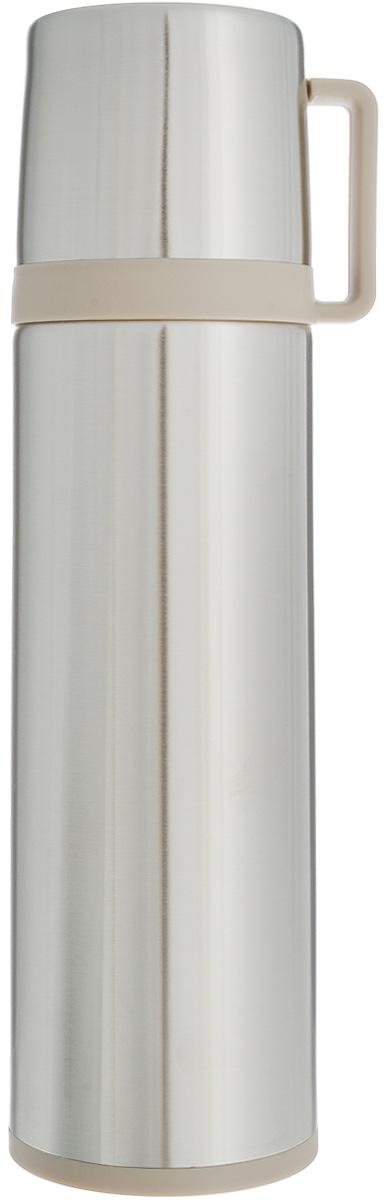 Термос Tescoma Constant, с крышкой-кружкой, цвет: стальной, бежевый, 0,7 л318574Термос Tescoma Constant - это вакуумный термос с двойной колбой из высококачественной нержавеющей стали. Термос сохраняет напитки горячими и холодными на протяжении длительного времени. Оснащен крышкой и пробкой с кнопкой для удобного розлива без снижения температуры. Термос Tescoma Constant прекрасно подходит для дома, офиса и для путешествий. Сохранение температуры в термосе зависит от количества и температуры напитка, от частоты его открывания и от температуры воздуха. Крышка может использоваться как кружка. Диаметр термоса по верхнему краю: 5,2 см. Диаметр дна: 7,8 см. Высота термоса с учетом крышки: 28,5 см.