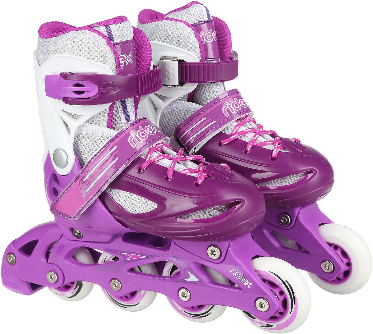 Коньки роликовые Ridex Sonny, раздвижные, цвет: фиолетовый, белый. УТ-00008099. Размер 34/37