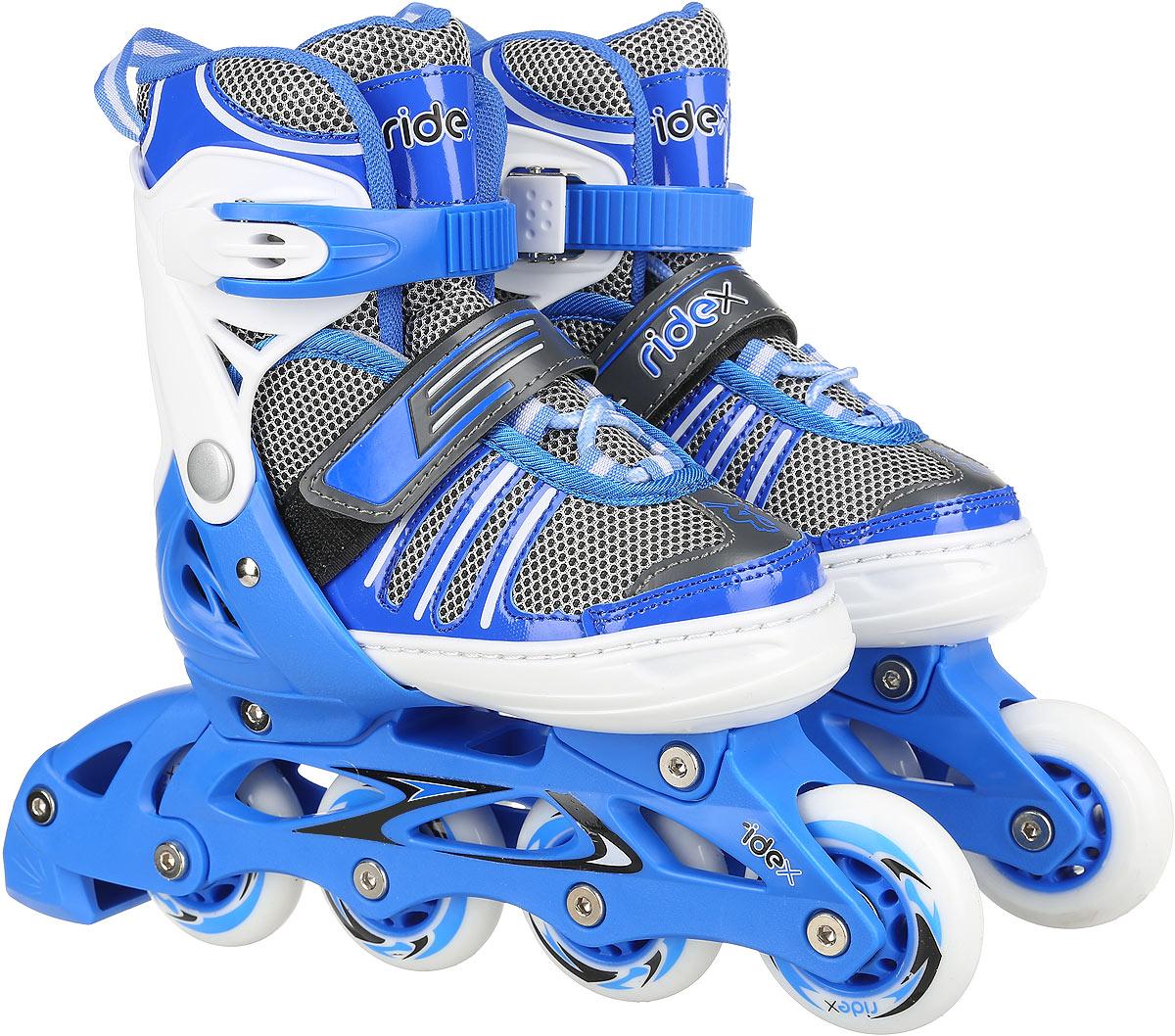 Коньки роликовые Ridex Ringo, раздвижные, цвет: белый, голубой, серый. УТ-00008102. Размер 34/37