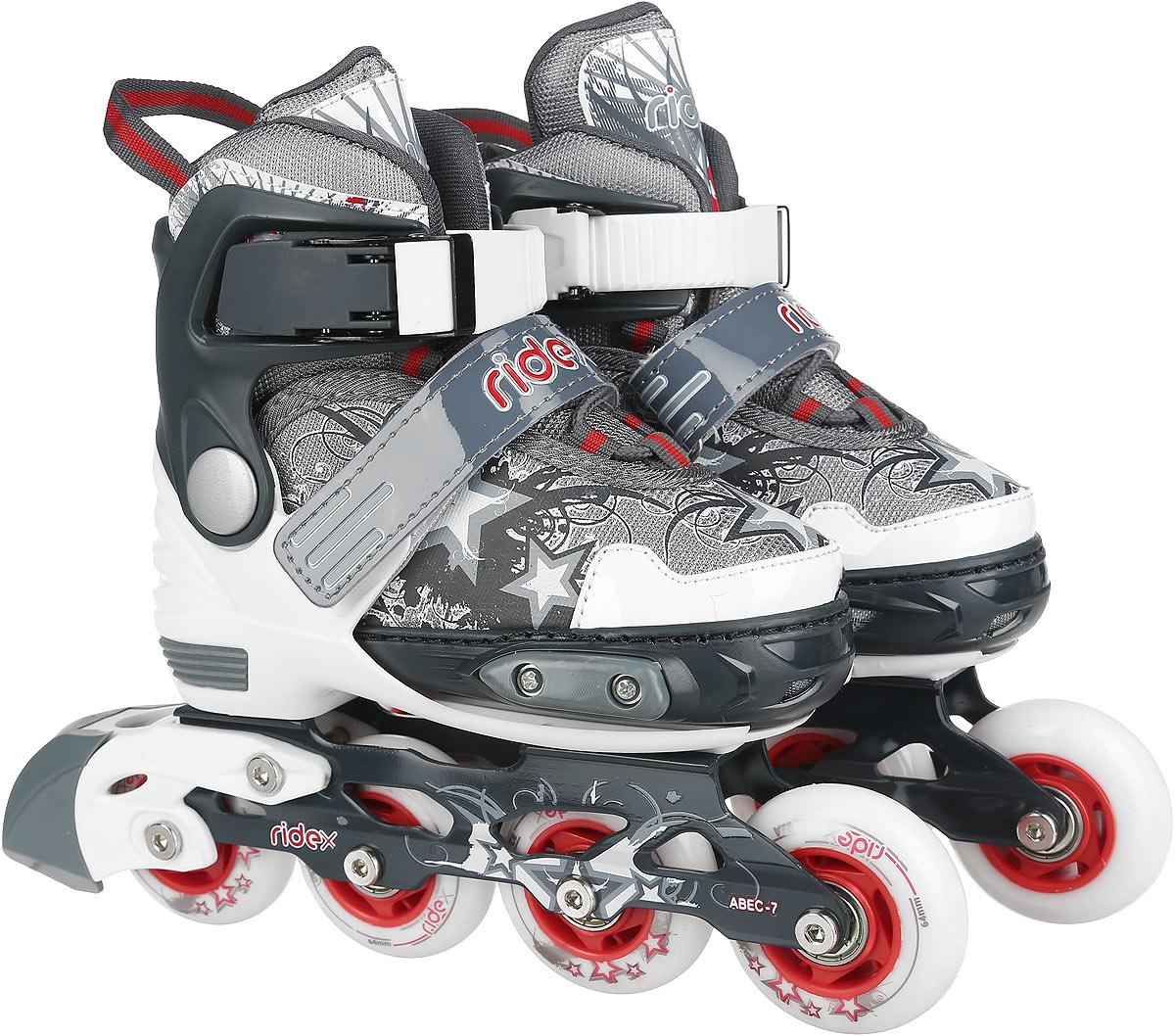 Коньки роликовые Ridex Phantom, раздвижные, цвет: белый, серый, красный. УТ-00008111. Размер 30/33