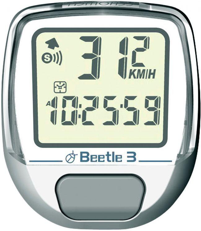 Велокомпьютер Echowell Beetle-3, 10 функций, цвет: белыйBeetle 3_белыйПроводной велокомпьютер Echowell Beetle 3 с десятью функциями в стильном корпусе предназначен для использования при занятиях велоспортом, велотуризмом и просто катании на велосипеде. Это удобный и простой в использовании электронный прибор, предоставляющий велосипедисту всю необходимую информацию о поездке. Имеет отличную водо и пылезащиту. Велокомпьютер состоит из двух частей соединенных проводом - дисплея, внешне похожего на электронные часы и датчика скорости. Дисплей крепится на руле с возможностью мгновенно отсоединить его, когда нет желания оставлять на велосипеде без присмотра или под дождем. Магнитный датчик скорости (геркон) крепится рядом с колесом. Велокомпьютер определяет скорость движения с точностью до десятых долей, дистанцию - с точностью до 10 метров. На дисплее функции поочередно сменяют друг друга. Все операции и настройки выполняются одной кнопкой.Функции: - Скорость текущая - Скорость средняя - Скорсть максимальная - Время в...