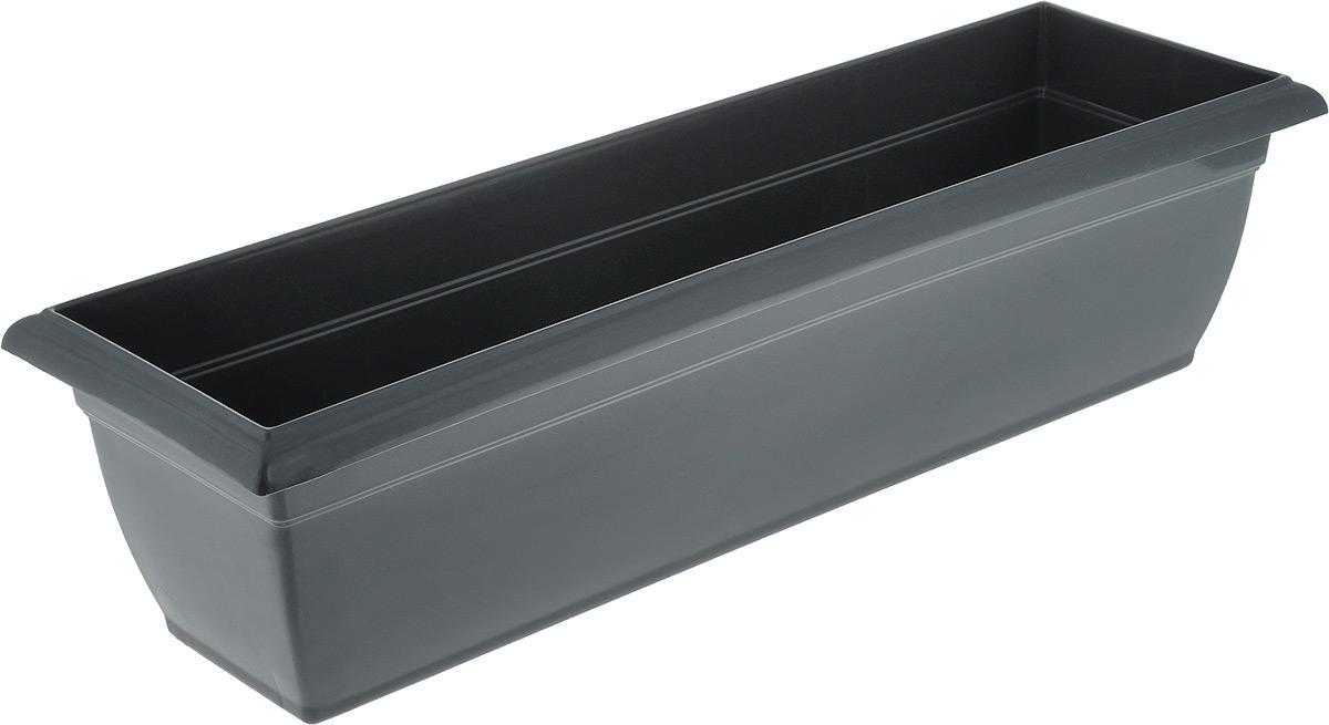 Ящик балконный Santino, цвет: антрацит, 58,5 х 18 х 15 см531-131Балконный ящик Santino изготовлен из высококачественного цветного полипропилена. Изделие предназначено для выращивания цветов и рассады как на балконе, так и в комнатных условиях.Размер ящика: 58,5 х 18 х 15 см.