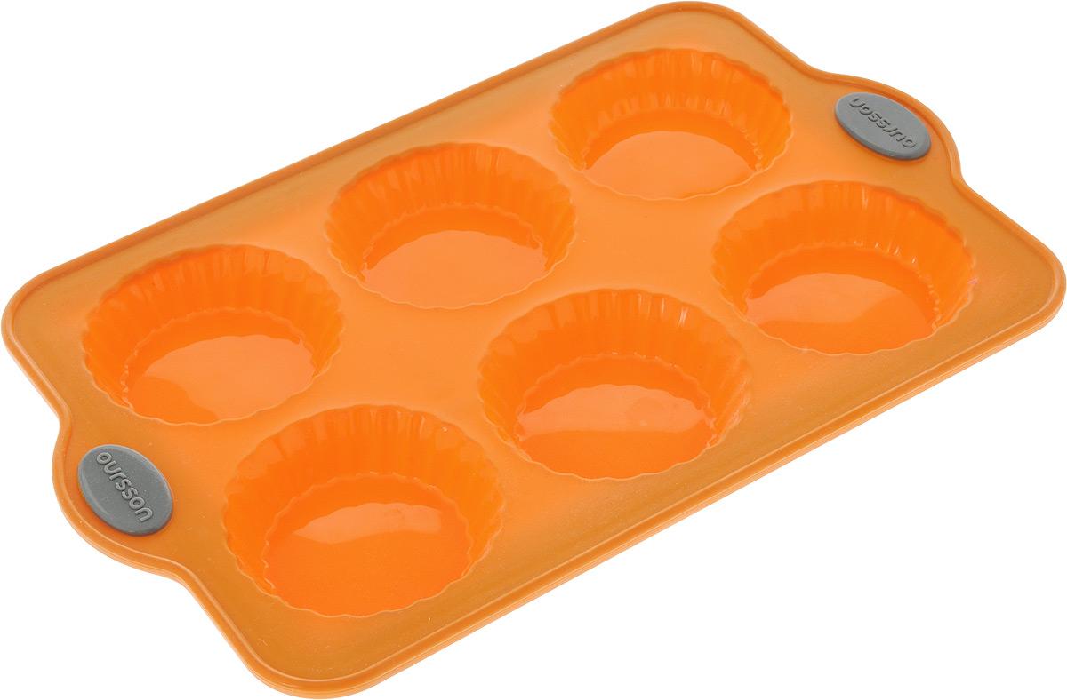 Форма для выпечки Oursson Тарталетки, силиконовая, цвет: оранжевый, 6 ячеекBW3004S/ORФорма для выпечки детских пирожных Oursson Тарталетки, выполненная из силикона с металлическим каркасом, будет отличным выбором для всех любителей домашней выпечки. Форма имеет 6 небольших ячеек круглой формы. Силиконовые формы для выпечки имеют множество преимуществ по сравнению с традиционными металлическими формами и противнями. Нет необходимости смазывать форму маслом. Она быстро нагревается, равномерно пропекает, не допускает подгорания выпечки с краев или снизу. Вынимать продукты из формы очень легко. Слегка выверните края формы или оттяните в сторону, и ваша выпечка легко выскользнет из формы. Материал устойчив к фруктовым кислотам, не ржавеет, на нем не образуются пятна. Форма может быть использована в духовках и микроволновых печах (выдерживает температуру от -20°С до +220°С), также ее можно помещать в морозильную камеру и холодильник. Размер формы: 30,3 х 19,2 х 2,3 см.
