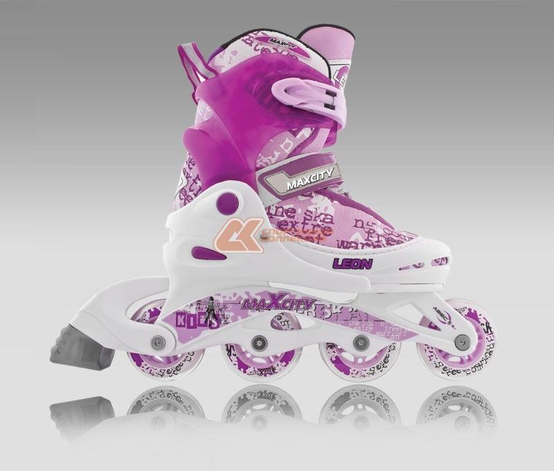 Коньки роликовые MaxCity Leon, раздвижные, цвет: фиолетовый, белый. Размер 30/33