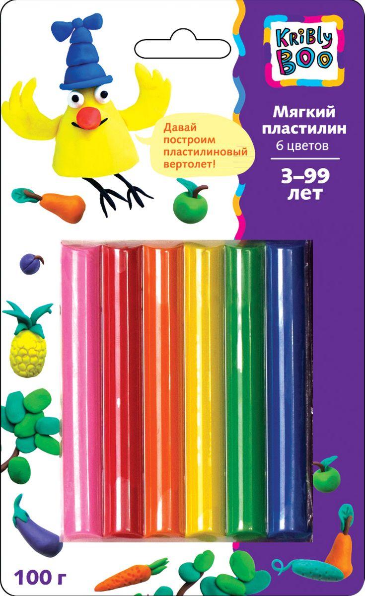 Kribly Boo Пластилин мягкий 6 цветов72523WDЛепка из пластилина — не только приятное, но и полезное занятие. Ведь с удовольствием создавая свои пластилиновые миры, маленький художник одновременно будет развивать воображение, получать творческие навыки, а также тренировать мелкую моторику и координацию рук.Цветные брусочки пластилина можно смешивать, создавая дополнительные оттенки. В наборе пластилин, 6 цветов