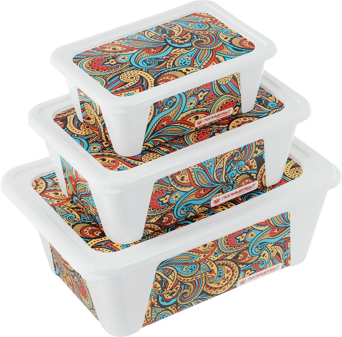 Набор контейнеров для хранения Полимербыт Пейсли, 3 штSGHPBKP75Набор Полимербыт Пейсли состоит из трех контейнеров, которые выполнены из пластика и оформлены оригинальным рисунком. Изделие подойдет как для хранения канцелярии, так и для хранения швейных принадлежностей. Размеры контейнеров: 22 х 15 х 8,5 см; 18 х 12,5 х 7 см; 14 х 9,5 х 5 см. Объём контейнеров: 1,65 л, 900 мл, 400 мл.