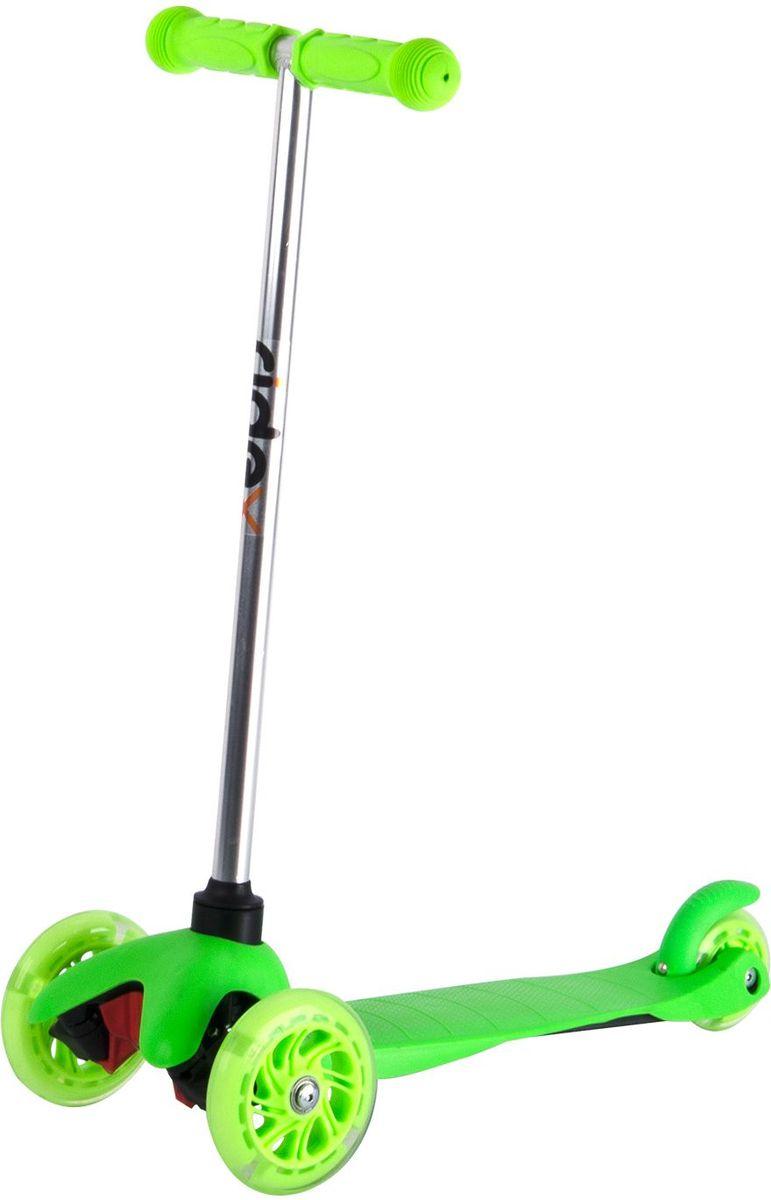 Самокат Ridex 3D Kinder, 3-колесный, цвет: зеленый, 120/80 мм. УТ-00009718WRA523700Трехколесный самокат бренда Ridex создан для детей, только начинающих осваивать данный способ передвижения. Благодаря устойчивости самоката ребенку не надо контролировать равновесие, а можно сосредоточиться на таких навыках, как отталкивание ногой, управление рулём и торможение. Прочная пластиковая дека обеспечит комфортное катание, а резиновые ручки поспособствуют прочному сцеплению с ладонями. Светящиеся колёса, без сомнений, станут поводом для искренней детской радости и восторженных взглядов окружающих!