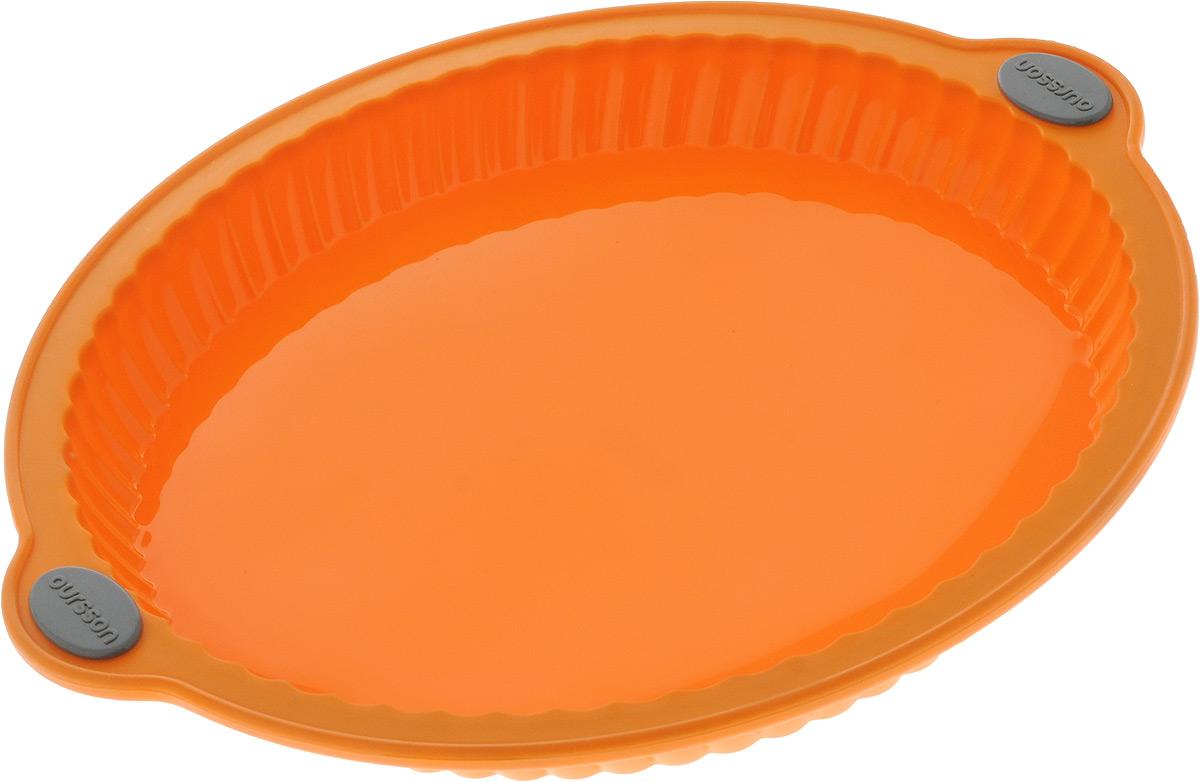 Форма для выпечки Oursson Пирог, цвет: оранжевый, силиконовая, диаметр 29 смCM000001328Форма для выпечки Oursson Пирог, выполненная из силикона с металлическим каркасом, будет отличным выбором для всех любителей домашней выпечки. Форма имеет круглую форму.Силиконовые формы для выпечки имеют множество преимуществ по сравнению с традиционными металлическими формами и противнями. Нет необходимости смазывать форму маслом. Она быстро нагревается, равномерно пропекает, не допускает подгорания выпечки с краев или снизу.Вынимать продукты из формы очень легко. Слегка выверните края формы или оттяните в сторону, и ваша выпечка легко выскользнет из формы.Материал устойчив к фруктовым кислотам, не ржавеет, на нем не образуются пятна. Форма может быть использована в духовках и микроволновых печах (выдерживает температуру от -20°С до +220°С), также ее можно помещать в морозильную камеру и холодильник.Размер формы: 32 х 29 х 3,4 см.