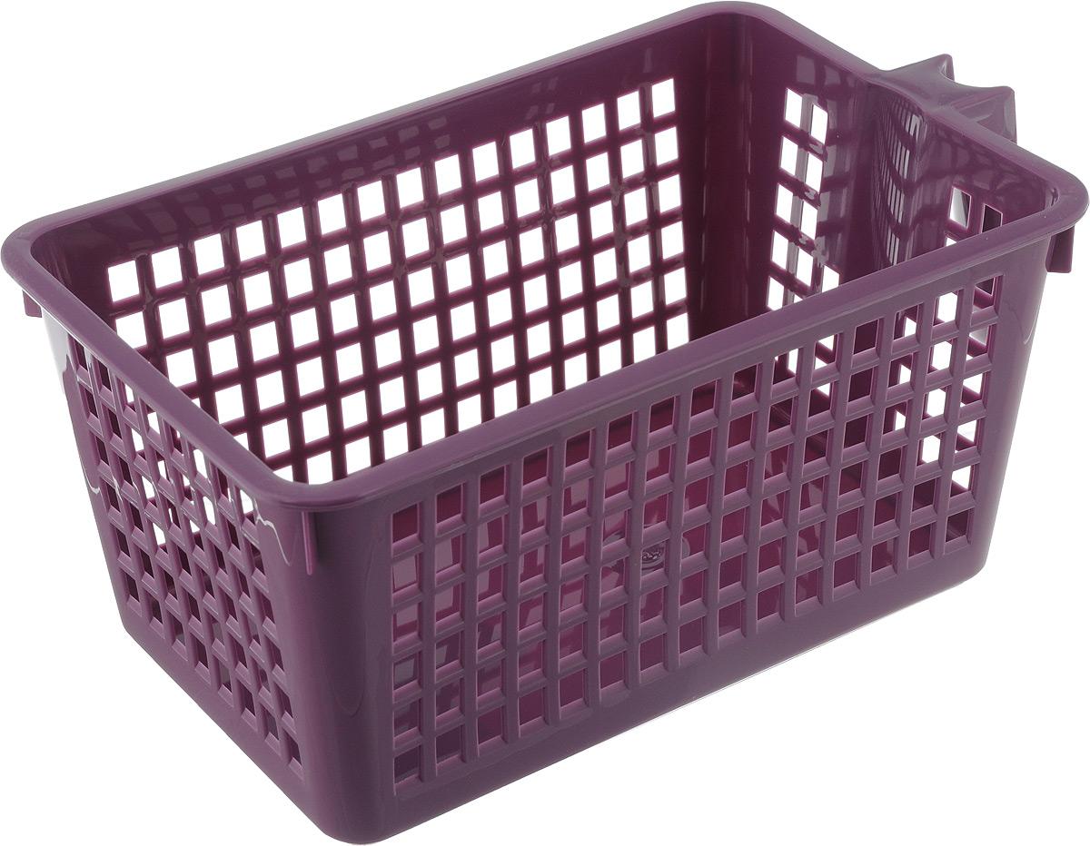 Корзинка универсальная Econova, с ручкой, цвет: фиолетовый, 28 х 16 х 12 см531-401Универсальная корзинка Econova изготовлена из высококачественного пластика и предназначена для хранения и транспортировки вещей. Корзинка подойдет как для пищевых продуктов, так и для ванных принадлежностей и различных мелочей. Изделие оснащено ручкой для более удобной транспортировки. Стенки корзинки оформлены перфорацией, что обеспечивает естественную вентиляцию.Удобная корзинка позволит вам хранить вещи компактно и с удобством.