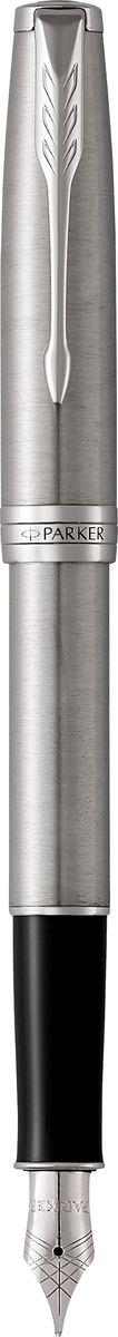 Parker Ручка перьевая Sonnet Stainless Steel СT7710899Марка Parker гарантирует полную уверенность в превосходном качестве товара. Перьевая ручка Parker Sonnet Stainless Steel СT будет не только долго служить, но и неизменно радовать удобством и легкостью письма, надежностью в эксплуатации и прекрасным эстетическим исполнением. Перьевая ручка Parker Sonnet Stainless Steel СT выполнена в корпусе из шлифованной нержавеющей стали и декоративными элементами, покрытыми палладием. Перо изготовлено из нержавеющей стали. Форма ручки - круглая. Перьевая ручка Parker Sonnet Stainless Steel СT аккуратно упакована в футляр с откидной крышкой.Вложение: Конвертер S0102040 и 2 черных картриджа
