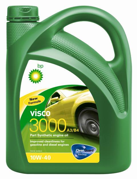 Моторное масло BP Visco 3000 A3/B4 10W-40 4, 4 л157F36Применение BP Visco 3000 A3/B4 10W-40 с технологией защиты двигателя Cleanguard – это высококачественное частично синтетическое моторное масло предназначенное для использования в автомобильных бензиновых и дизельных двигателях, где производитель рекомендует масла соответствующие стандартам API SL/CF или ACEA A3/B4, или более ранним спецификациям. BP Visco 3000 A3/B4 10W-40 также одобрено к применению в двигателях автомобилей Mercedes и VW, где требуются масла спецификаций MB-Approval 229.1 или VW 501 01 / 505 00. Основные преимущества BP Visco с технологией защиты двигателя Cleanguard: поддерживает чистоту Вашего двигателя длительное время. BP Visco 3000 A3/B4 10W-40 – высококачественное Частично синтетическое моторное масло со следующими преимуществами: - повышенная чистота деталей бензиновых и дизельных двигателей; - дополнительная защита от износа в нормальных условиях эксплуатации; - пониженный расход масла на угар. Спецификации ACEA A3/B4 API SL/CF VW 501 01 / 505 00...