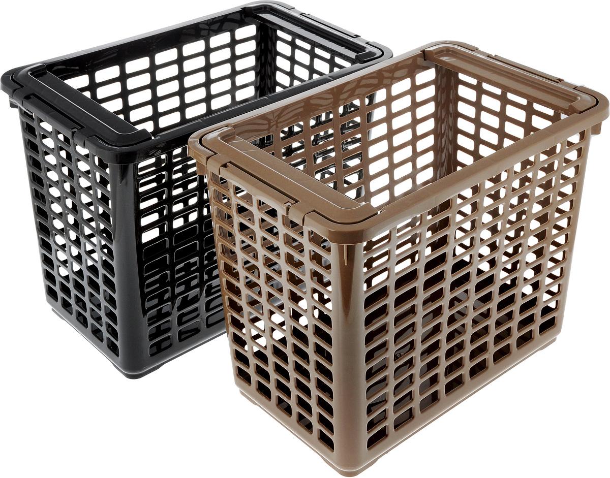 Корзина для хранения Полимербыт, 2 шт, 41 x 25,5 x 33 смSGHPBKP103Удобная корзинка Полимербыт прекрасно подойдет для хранения бытовых вещей и продуктов. Изделие выполнено из пластика. Дно сплошное, а стенки корзины оформлены изящной перфорацией. Корзинка оснащена двумя подвижными ручками. Универсальная пластмассовая корзина обеспечит порядок и комфорт в вашем доме и на даче. В набор входит 2 штуки.