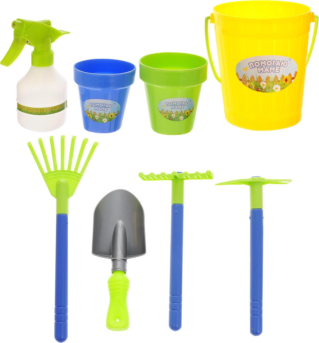 Abtoys Набор для юного садовода Помогаю Маме цвет желтый 8 предметов PT-00603_желтое ведерко