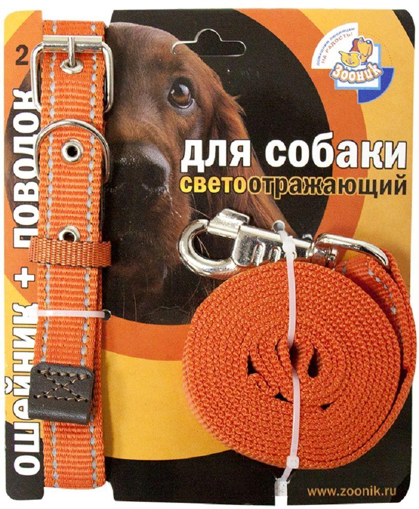 Комплект Зооник: поводок 2м, ошейник 37-51 см х 25 мм, со светоотражающей лентой, цвет: оранжевый0120710Поводок Зооник, капроновый комплект для выгула собак со светоотражающей лентой (ошейник + поводок). Идеально подходит для прогулок в темное время суток. Длина поводка 2м. Ширина ленты 25мм. Цвет оранжевый.