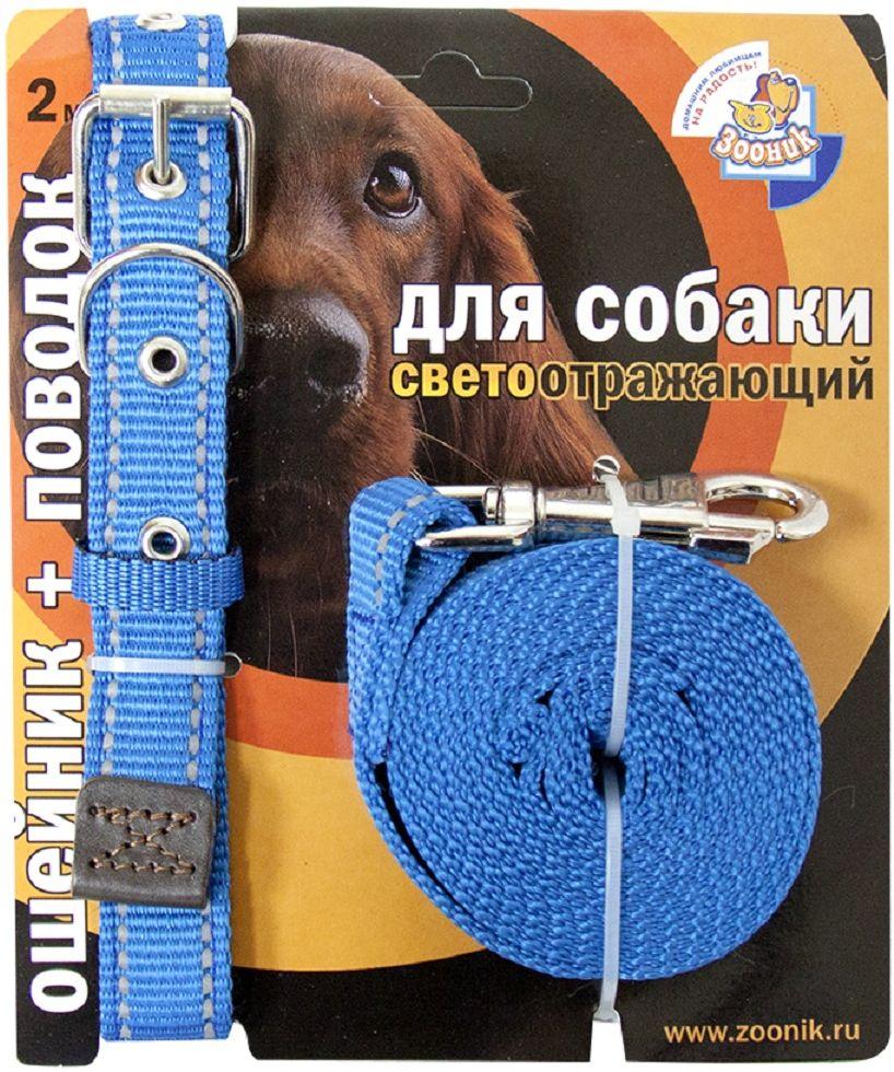 Комплект Зооник: поводок 2м, ошейник 37-51 см х 25 мм, со светоотражающей лентой, цвет: синий0120710Поводок Зооник, капроновый комплект для выгула собак со светоотражающей лентой (ошейник + поводок). Идеально подходит для прогулок в темное время суток. Длина поводка 2м. Ширина ленты 25мм. Цвет синий.