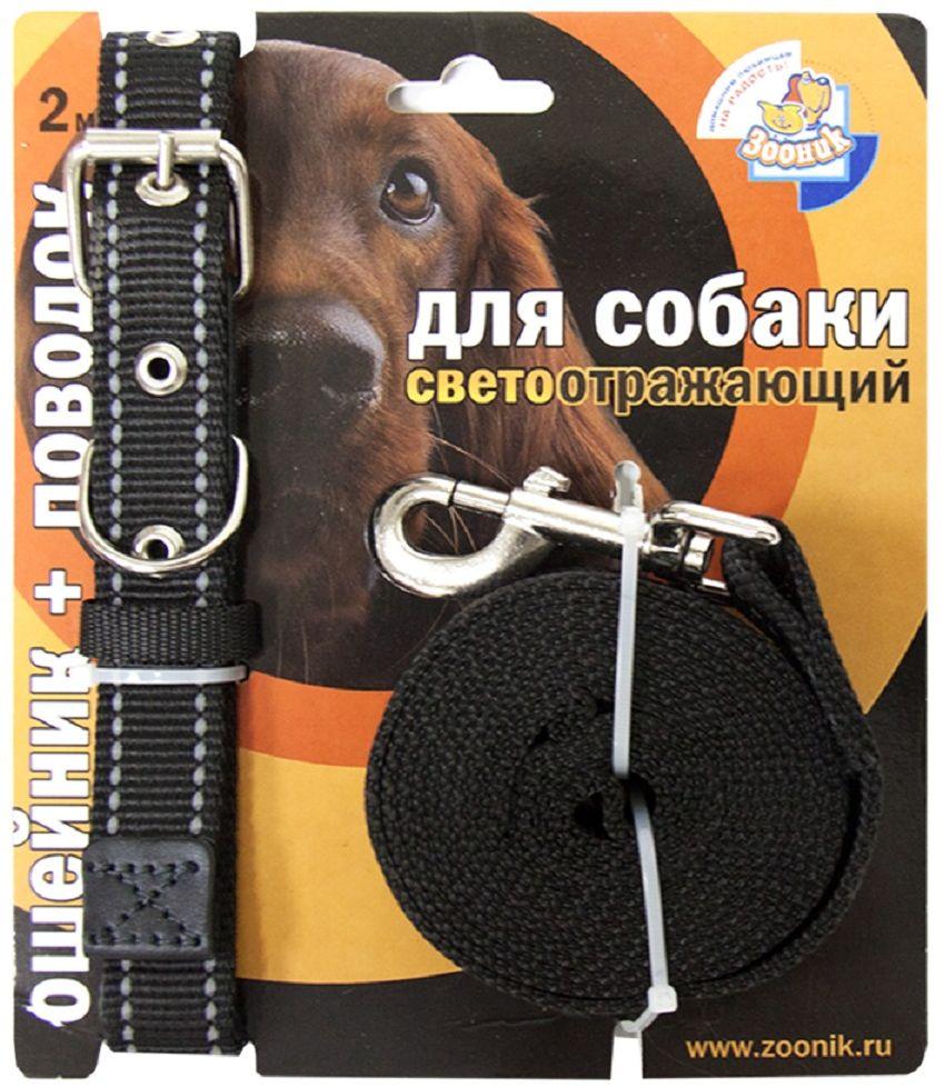 Комплект Зооник: поводок 2м, ошейник 37-51 см х 25 мм, со светоотражающей лентой, цвет: черный1352Поводок Зооник, капроновый комплект для выгула собак со светоотражающей лентой (ошейник + поводок). Идеально подходит для прогулок в темное время суток. Длина поводка 2м. Ширина ленты 25мм. Цвет черный.