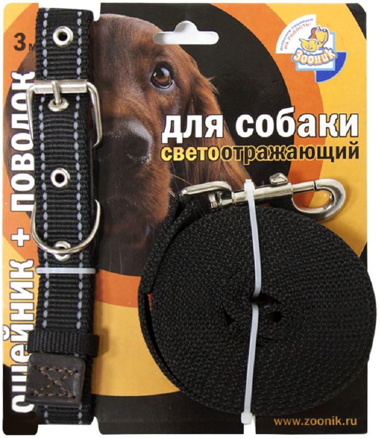 Комплект Зооник: поводок 3м, ошейник 37-51 см х 25 мм, со светоотражающей лентой, цвет: черный0120710Поводок Зооник, капроновый комплект для выгула собак со светоотражающей лентой (ошейник + поводок). Идеально подходит для прогулок в темное время суток. Длина поводка 3м. Ширина ленты 25мм. Цвет черный.