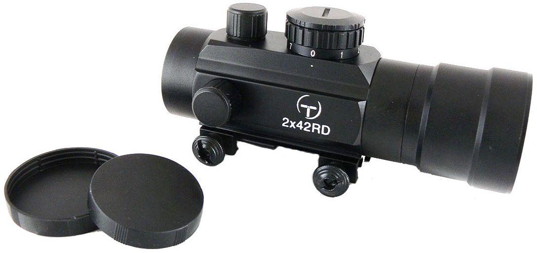 Прицел коллиматорный Target Optic 2х42, закрытый на Weaver, марка - точка8-10818B353-B353Коллиматор Target Optic 2х42 закрытый на Weaver, марка - точка. Арт. TO-2-42Коллиматорный прицел Target Optic 2x42 открытого типа с семью уровнями подсветки предназначен для установки на гладкоствольное и нарезное оружие. Cистема монтажа позволяет устанавливать прицел на любое оружие, оборудованное стандартной базой Weaver / Picatinny.Крепится на оружие с помощью двух винтов на расстоянии от 5 до 40 см от глаза стрелка до окуляра прицела. Верхний и боковой пристрелочные винты регулируют точку прицеливания. Щелчок пристрелочного винта соответствует смещению точки попадания на 12-15мм на дистанции 100м.Оснащен регулятором яркости прицельной марки, который позволяет изменять интенсивность подсветки в пределах 7 уровней, что важно для качественной подстройки прицела под определенный вид охоты. Линзы прицела имеют специальное покрытие, которое защищает их от запотевания и от мелких повреждений. Качественная оптика позволяет использование прицела в условиях недостаточной освещенности. Использование коллиматорного прицела обеспечивает более удобное и быстрое прицеливание. При достижении определенного навыка, пользователь в дальнейшем будет использовать только прицелы этого типа за счет их удобства и точности. Внутреннее пространство прицела заполнено сухим азотом, благодаря чему исключено запотевание внутренних поверхностей прицела. Коллиматор надежно защищен от влаги и проникновения пыли вовнутрь. Но, стоит учитывать, что данная модель не является водонепроницаемой (нельзя погружать в воду). Небольшой вес не сильно утяжелит оружие. Матовый корпус не создает солнечные блики, а, следовательно, не выдает местонахождение охотника. ОСОБЕННОСТЬ: состоит прицел из собственно прицела и увеличительной насадки. Может использоваться как с ней, так и без нее. Тип: закрытыйУвеличение (х): 1Увеличительная насадка, кратность: 2Прицельная марка: точкаПодсветка прицельной марки: красная, 7 режимов ярк