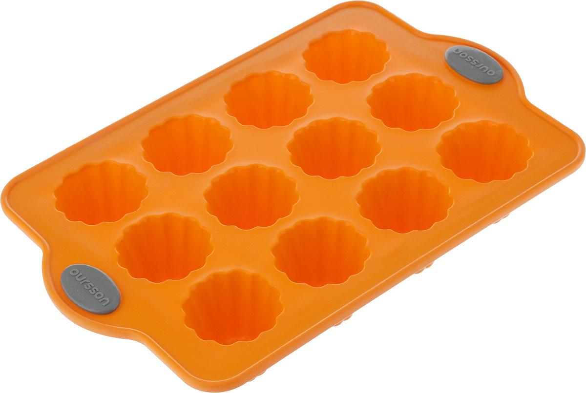Форма для выпечки Oursson Bon Appetit, силиконовая, цвет: оранжевый, 12 ячеекBW2804S/ORФорма для кексов и желе Oursson Bon Appetit, выполненная из силикона, будет отличным выбором для всех любителей домашней выпечки. Форма имеет 12 ячеек. Форма не провисает, так как расположена на металлическом каркасе. Силиконовые формы для выпечки имеют множество преимуществ по сравнению с традиционными металлическими формами и противнями. Нет необходимости смазывать форму маслом. Она быстро нагревается, равномерно пропекает, не допускает подгорания выпечки с краев или снизу. Материал устойчив к фруктовым кислотам, не ржавеет, на нем не образуются пятна. Форма может быть использована в духовках и микроволновых печах (выдерживает температуру от -20°С до +220°С), также ее можно помещать в морозильную камеру и холодильник. Размер формы: 28 х 18 х 4 см. Размер ячейки: 4,5 х 4,5 х 4 см.