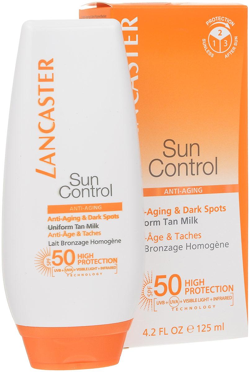 Lancaster Sun Control Солцезащитное антивозрастное молочко Сияющий загар для тела против пигментных пятен для чувствительной к солнечному воздействию кожи. фактор защиты 50Б33041_шампунь-барбарис и липа, скраб -черная смородинаЛёгкий крем SPF 50 для лица, шеи и декольте идеально защищают кожу от старения, вызванного солнцем.Full Light Technology – полная защита от всех видов лучей УФИ. Поглащение Фотостабильные высокоэффективные фильтры, Tinosorb М. Отражение: Пудра рубина, слюда, Диоксид титана + Bio Glass M Нейтрализация: Антиоксидантный комплекс+ витамин С+Е+ масло облепихи.Lancaster Sun Control Anti-Ageing & Dark Spots Sun Sensitive Skin Uniform Tan Milk SPF50   cолнцезащитное средство для тела.Фактор защиты-50.Обильно нанесите крем на лицо и область декольте перед выходом на солнце. Для поддержания эффективности солнцезащитного средства наносите его повторно, особенно после купания или после того, как вспотели или использовали полотенце, а также обновляйте средство во время пребывания на солнце. Недостаточное количество средства снижает уровень защиты кожи.