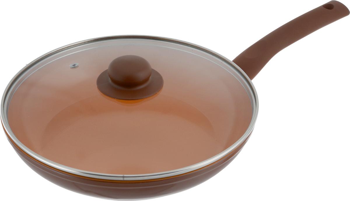 Сковорода NaturePan Ceramic Induction, с крышкой, с керамическим покрытием. Диаметр 26 смCrPI26/крСковорода NaturePan Ceramic Induction выполнена из алюминия и имеет современное керамическое покрытие Greblon Ceramic. Благодаря такому покрытию, внутренняя и внешняя поверхность сковороды хорошо моется, устойчива к царапинам. Усиленное кованное дно, служит для равномерного распределения тепла и лучшего приготовления пищи. Эргономичная пластиковая ручка, не скользит в руке и приятна на ощупь. Сковорода снабжена стеклянной крышкой с пластиковой ручкой и пароотводом. Такая крышка позволяет следить за процессом приготовления пищи без потери тепла. Она плотно прилегает к краю посуды, сохраняя аромат блюд. Подходит для всех типов плит, включая индукционные. Яркие цвета внутреннего и внешнего покрытия подчеркивают изысканность блюда при приготовлении и создают атмосферу комфорта и уюта на любой кухне. Диаметр: 26 см, Высота стенки: 4,5 см, Длина ручки: 18,5 см, Диаметр крышки (по наружному краю): 26 см. Диаметр...