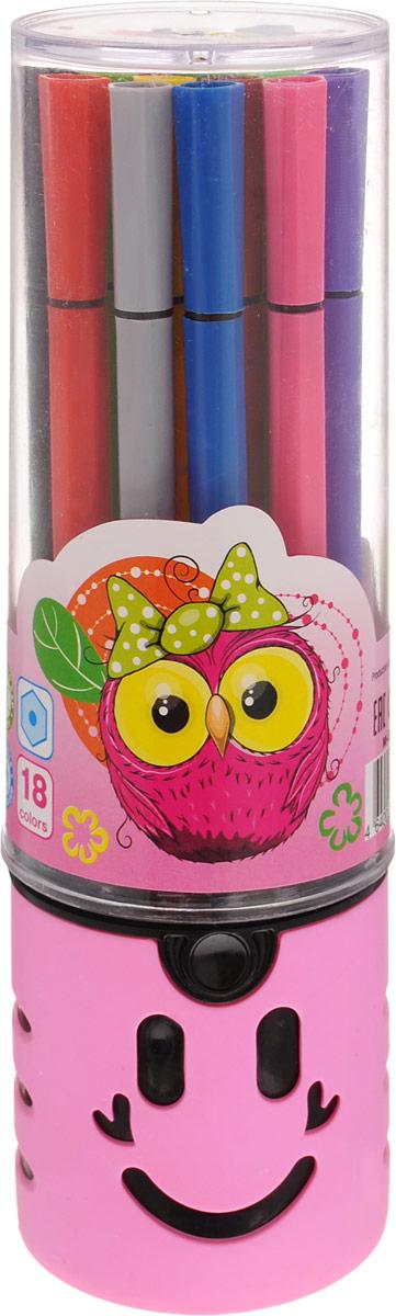 Mazari Набор фломастеров Junior 18 цветов цвет футляра розовый499962Яркие фломастеры Mazari Junior помогут маленькому художнику раскрыть свой творческий потенциал, рисовать и раскрашивать яркие картинки, развивая воображение, мелкую моторику и цветовосприятие. В наборе 18 разноцветных фломастеров. Корпусы выполнены из пластика. Чернила на водной основе нетоксичны, благодаря чему полностью безопасны для ребенка и имеют яркие, насыщенные цвета. Если маленький художник запачкался - не беда, ведь фломастеры отстирываются с большинства тканей. Вентилируемый колпачок надолго сохранит яркость цветов.Набор фломастеров упакован в удобный пластиковый пенал, оформленный изображением совы.