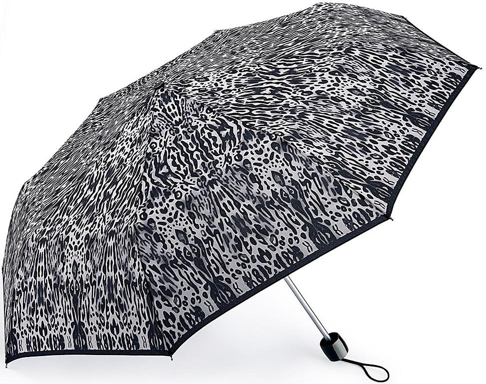 Зонт женский Fulton, механический, 3 сложения, цвет: черный, светло-серый. L354-3377L354-3377 IntenseLeopardСтильный механический зонт Fulton имеет 3 сложения, даже в ненастную погоду позволит вам оставаться стильной. Легкий, но в тоже время прочный алюминиевый каркас состоит из восьми спиц с элементами из фибергласса. Купол зонта выполнен из прочного полиэстера с водоотталкивающей пропиткой. Рукоятка закругленной формы, разработанная с учетом требований эргономики, выполнена из каучука. Зонт имеет механический способ сложения: и купол, и стержень открываются и закрываются вручную до характерного щелчка.