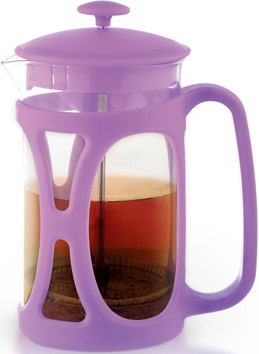 Заварочный чайник Fissman Opera, с поршнем, цвет: лиловый, 800 мл. 9036CM000001328Заварочный чайник Fissman Opera изготовлен изжаропрочного стекла и пластика. Фильтр-поршень из нержавеющей стали оснащен ситечком для обеспечения равномерной циркуляцииводы. Засыпая чайную заварку или кофе под фильтр, заливаягорячей водой, вы получаете ароматный напиток соптимальной крепостью и насыщенностью. Остановитьпроцесс заваривания легко, для этого нужно просто опуститьпоршень, и все уйдет вниз, оставляя вверху напиток, готовый купотреблению. Изделие оснащено эргономичнойручкой, которая обеспечит безопасный и удобныйхват. Такой чайник позволит быстро и простоприготовить свежий и ароматный кофе или чай. Объем: 800 мл.