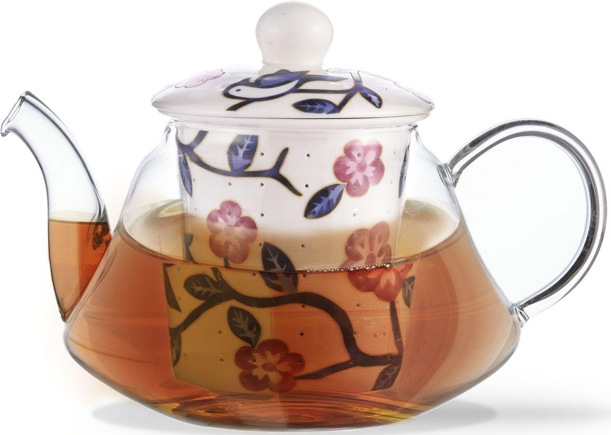 Заварочный чайник Fissman Casablanca, с керамическим фильтром и крышкой, 600 мл. 9274115510Заварочный чайник Fissman Casablanca изготовлен из высококачественного жаропрочного стекла. Чайник оснащен удобной ручкой. Фильтр и крышка выполнены из керамики с цветочным узором. Красочность оформления придется по вкусу всем, кто предпочитаетутонченность и изысканность.Объем: 600 мл.