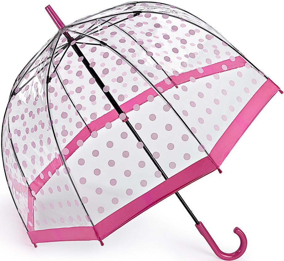 Зонт-трость женский Fulton, механический, цвет: розовый, прозрачный. L042-3388 L042-3388 PinkPolkaDot