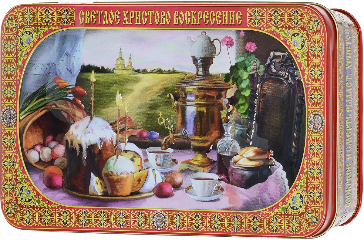 Вера, Надежда, Любовь Светлое Христово Воскресение подарочный черный листовой чай, 100 г221914Пасха - Воскресение Христово - древнейший христианский праздник; главный праздник богослужебного года. Установлен в честь воскресения Иисуса Христа. В настоящее время его дата в каждый конкретный год исчисляется по лунно-солнечному календарю, что делает Пасху переходящим праздником. Начиная с пасхальной ночи и последующие сорок дней принято христосоваться, то есть приветствовать друг друга словами: Христос воскресе! - Воистину воскресе!, при этом троекратно целуясь.